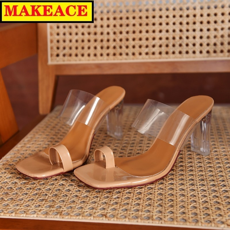 Модные прозрачные дамские тапочки, летние крутые тапки, новинка 2021, с открытой ногой, тапочки из искусственного песка, уличные, крутые тапки