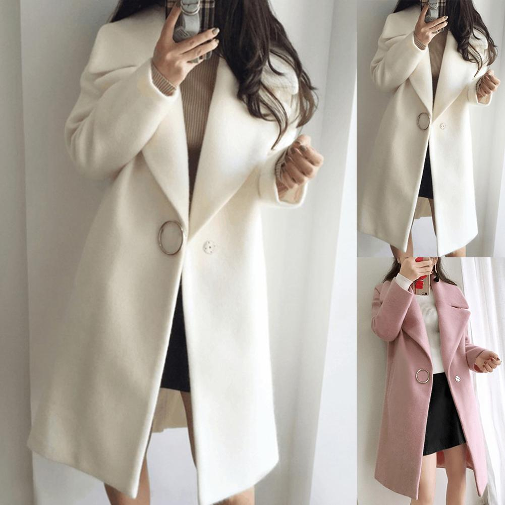 Loose Warm Cotton + Spandex Long Winter Coat Turn-down Collar Adjustable Wool Coats Women Office Wor