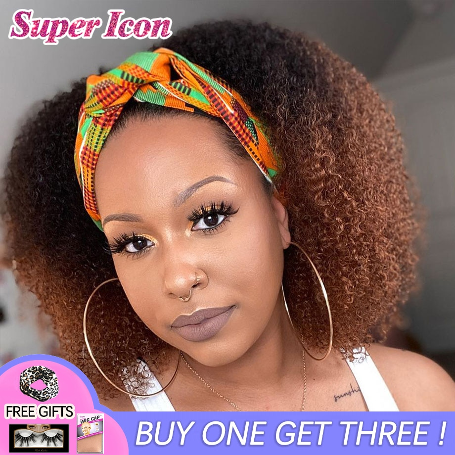 Colored Curly Headband Wigs Afro Kinky Curly Ombre Glueless 4/30 Color Full Mechine Made Head Band Wig Human Hair Super Icon