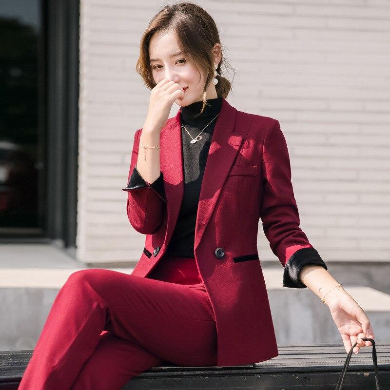 Conjunto de traje de oficina de alta calidad para mujer, Chaqueta roja de manga larga de alta calidad 2019, conjunto de pantalones de Micro cuerno ajustados para mujer, conjunto de dos piezas