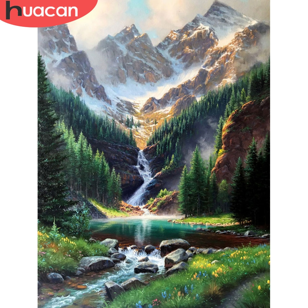 HUACAN DIY Diamond Painting Waterfall Landscape 5d Handicraft Full Square Diamond Embroidery Cross Stitch Mountain Wall Art