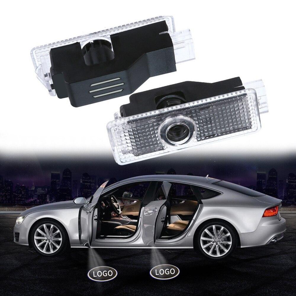 2 pçs led porta luz projetor laser sombra lâmpada porta do carro luzes de boas-vindas para audi a8 2004-2017 q3 2012-2017