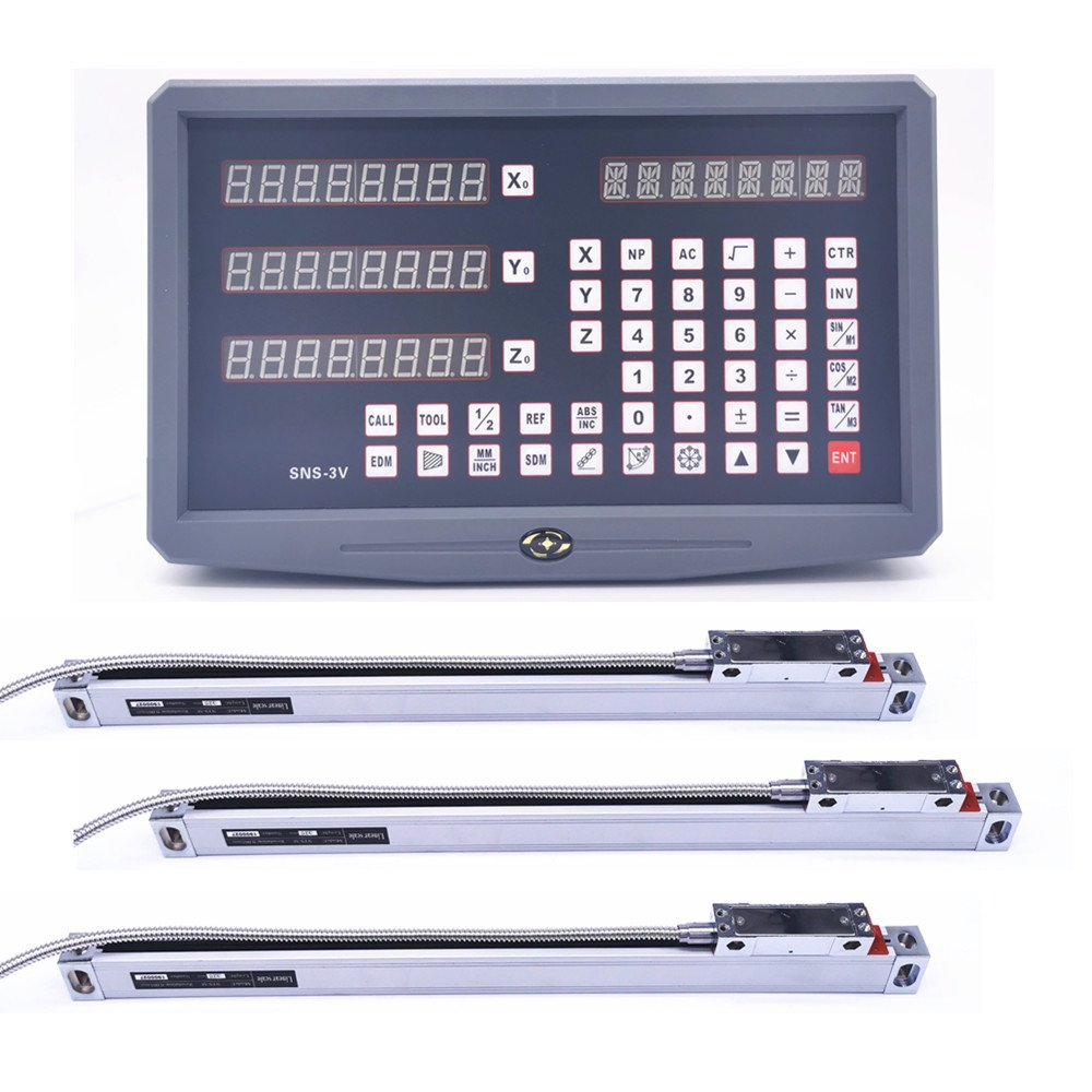 완전한 세트 SNS-3V 3 축 dro 디지털 판독 값 3 조각 0-1000mm 고정밀 유리 선형 스케일 인코더 눈금자