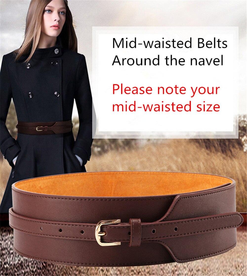 Women Dress Belt, Fashion Coat Leather Belt For Women, Pin Buckle Cowhide Belts, Mid-waisted Wide