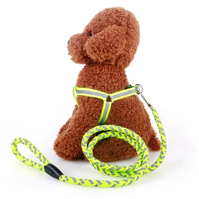 Arnés para perros y correa para caminar conjunto reflectante para chaleco de Nylon para perros 8 colores correa para perros medianos pequeños tamaño S/M/L