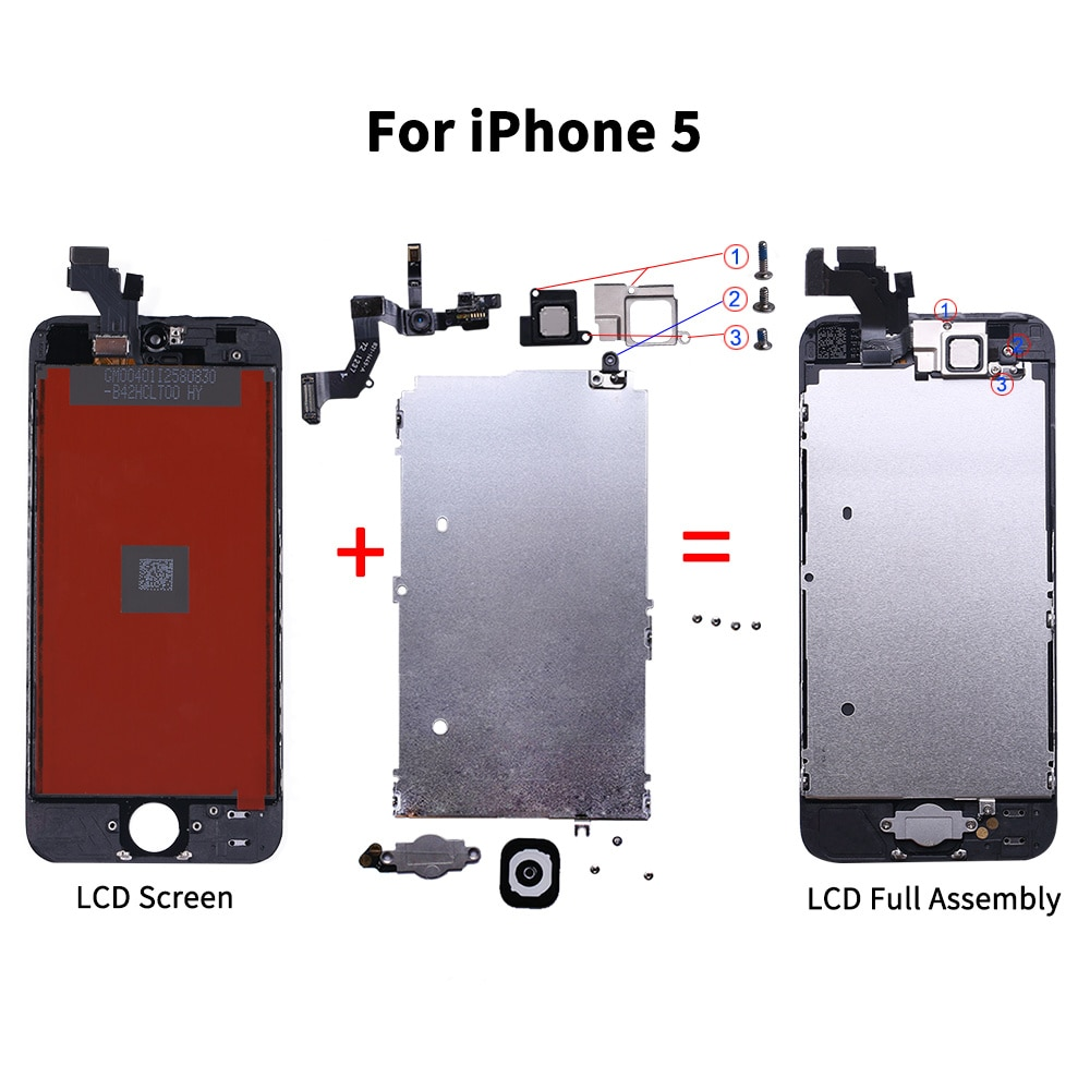 AAA+++ LCD Full Assembly For iPhone 5 5C 5S SE 6 7 8 Plus Touch Glass Display LCD Digitizer Replacement+Front Camera+Ear Speaker enlarge
