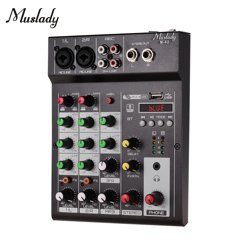 Consola mezcladora BT de 4 canales portátil Muslady M-4U mezcladora Digital de Audio efectos de reverberación integrados + 48V Phantom Power EQ de 3 bandas