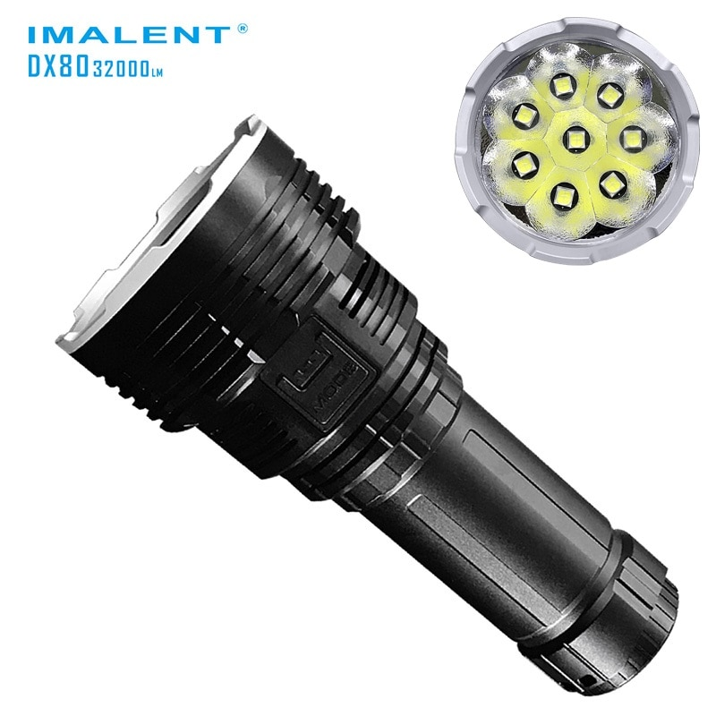 IMALENT DX80 High Power Rechargeable Led Flashlight,CREE XHP70 32000LM Tactical Flashlight with Battery for Search and Rescue enlarge