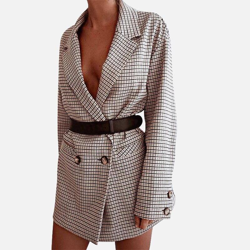 체크 오피스 레이디 블레이저 여성 미니 드레스 격자 무늬 긴 소매 오버 사이즈 자켓 2020 봄 가을 캐주얼 Streetwear 드레스