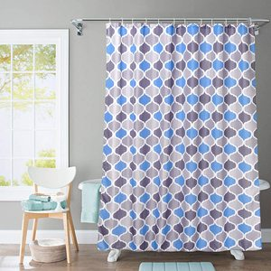 JRing Shower Curtain Polyester Fabric Machine Washable with 12 Hooks