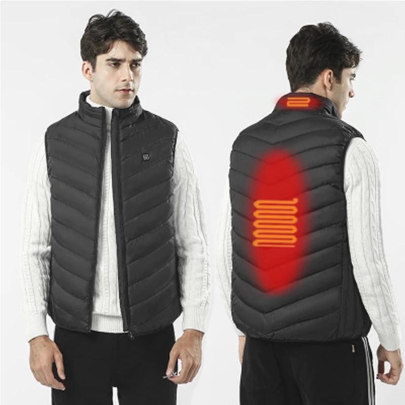 Electric Heated Jacket USB Heating Vest Washable Warm Down Jacket for Men Women Winter Outdoor Skiin