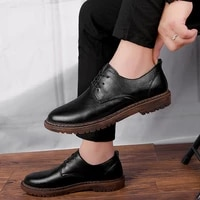 fashion mens casual shoes genuine leather classics brown black derby shoe man nice lace up breathable comfortable shoes for men