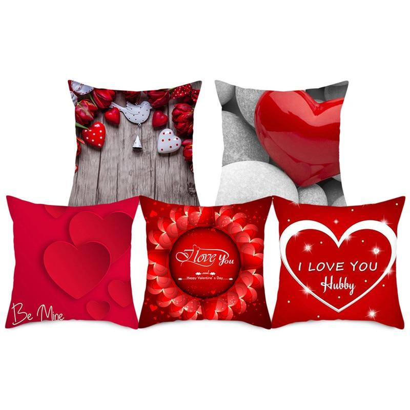 Capa para almofada fuwatacchi de lábios vermelhos, cobertura de almofada para foto de coração, capa decorativa para sofá de 2020 cm 45x45cm