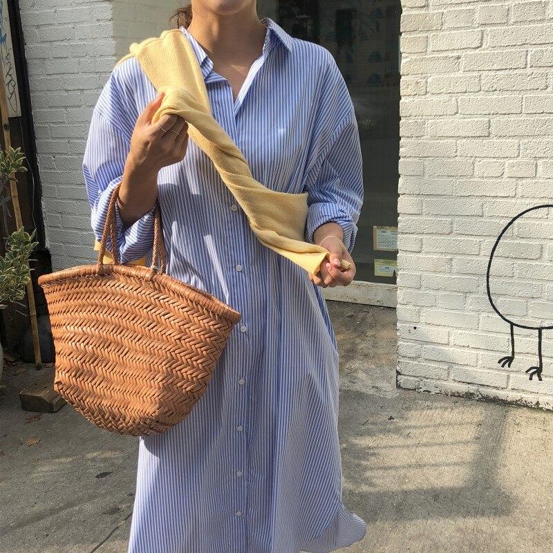 2021 Spring New Long Sleeve Midi Dress Women Stripe Casual Korea Style  Loose Ladies Shirt