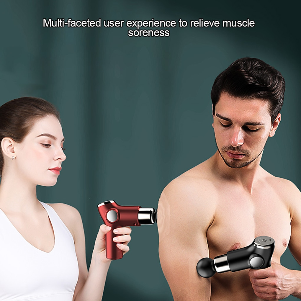 Fascia Massager Gun Muscle Relaxer Mini Electric LCD Portable Meridian Massage Device Health Fitness Type-C Charging 4pcs Heads enlarge