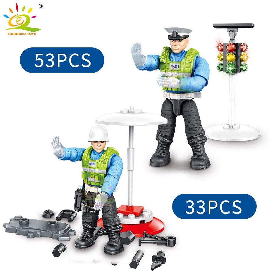 Купить с кэшбэком 228Pcs City Police Traffic Warden Dolls Model Building Blocks Traffic Police Motorcycle Light Cop Action Figures Toys Bricks Kid