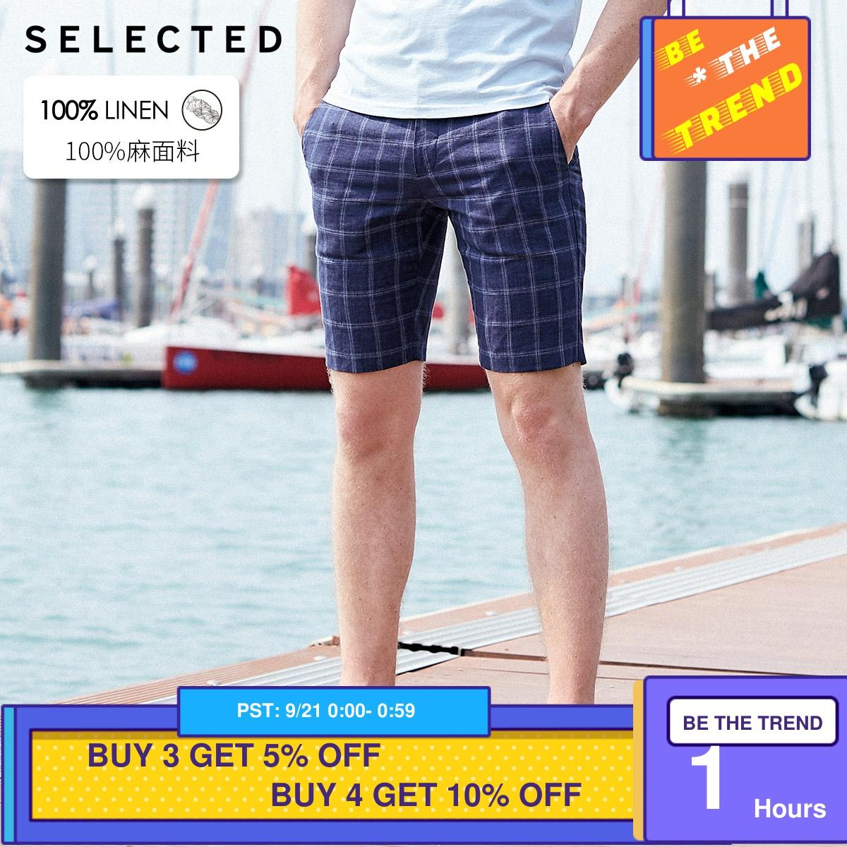 Pantalones cortos a la altura de la rodilla de tela escocesa de lino ajustados para hombres seleccionados S   4192SN504