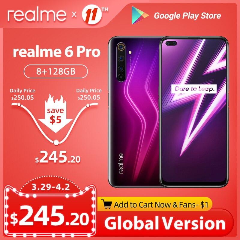 realme 6 Pro 6pro Global Version 8GB RAM 128GB ROM Mobile Phone Snapdragon 720G 30W Fast Charge 64MP Camera EU Plug NFCellphone