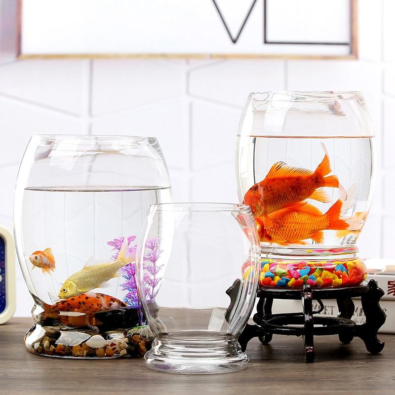 Goldfish Bowl Round Living Room Office Desktop Small Creative Ecological Aquarium Household Glass Fish Tank