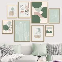 abstract girl face curve geometric shape leaf cactus wall art painting posters and prints wall pictures for living room decor