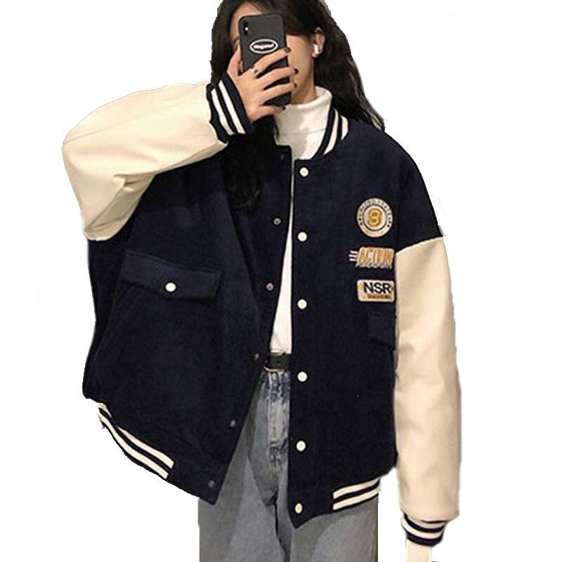 2021 Baseball Uniform Jackets for Women Apring Autumn High Quality Loose Vintage Oversize Jacket