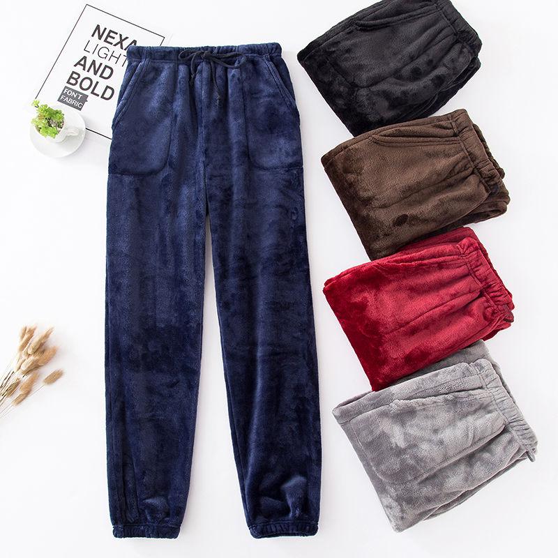 Новые зимние фланелевые Мужские штаны для сна, утепленные теплые спортивные брюки, мужские Пижамные штаны, удобные слаксы, пижама, повседне...