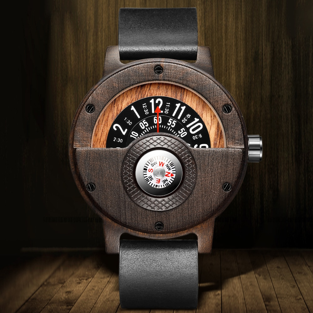 Design Mens Wooden Watch Unique Compass Turntable Men Brown Wood Leather Band Creative Natural Wood Quartz Wrist Watches redfire coffee brown walnut wood men watch brown genuine leather watch strap casual wooden mens watches digital round dial
