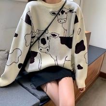 Vintage décontracté lâche paresseux vache pull femme coréen Harajuku femmes chandails japonais Kawaii mignon Ulzzang vêtements pour les femmes