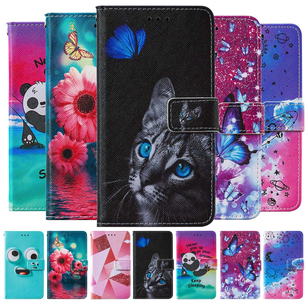 Funda de cuero con patrón de flores para iPhone 6 7 8 Plus 11 12 Pro X XS XR Max SE 2 Panda gato mariposa pintada libro