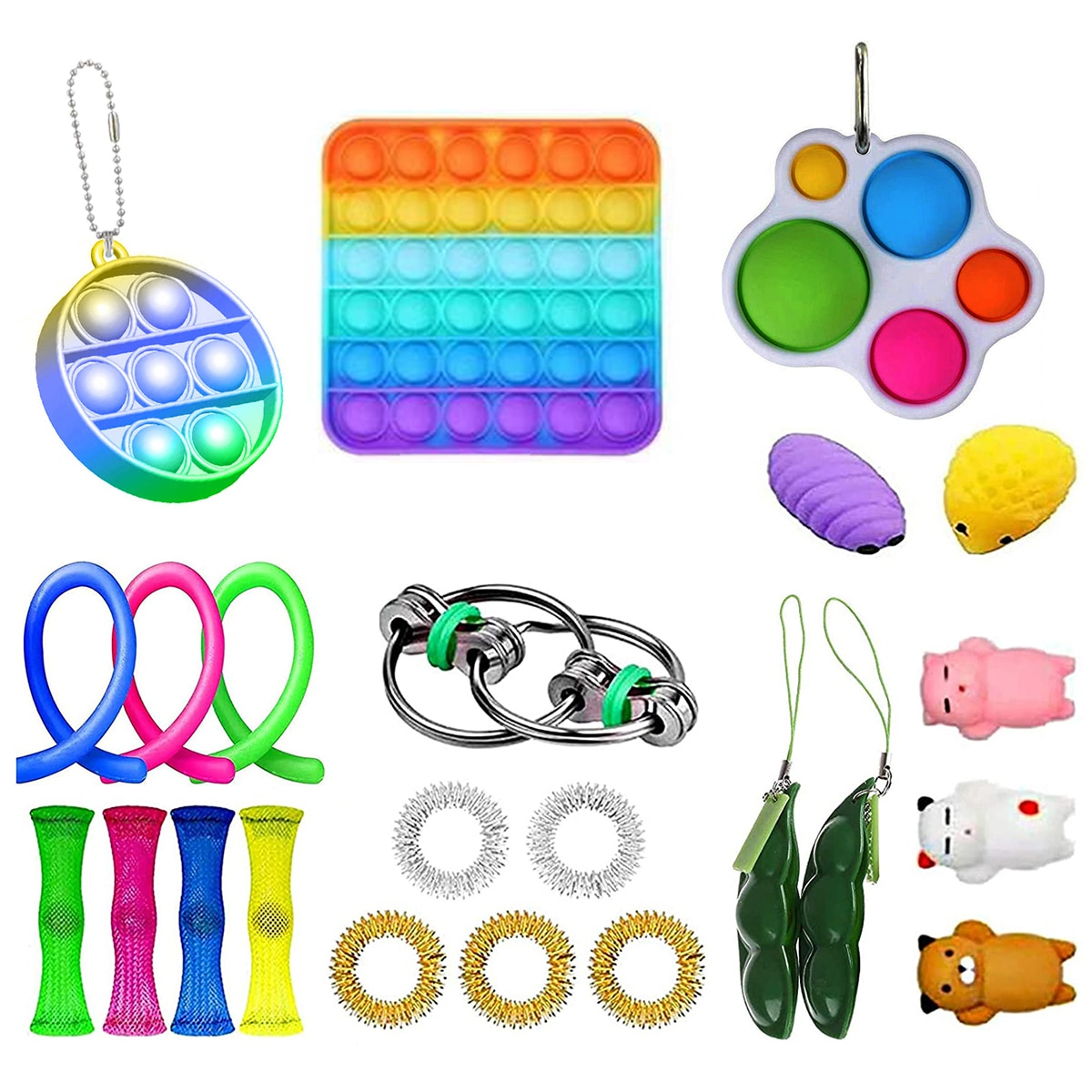 23PCS Silicone Sensory Toy Set Durable Decompression Sress Reliver Noodles Rope Bean Keychain Bubble Toys For Children Adult enlarge