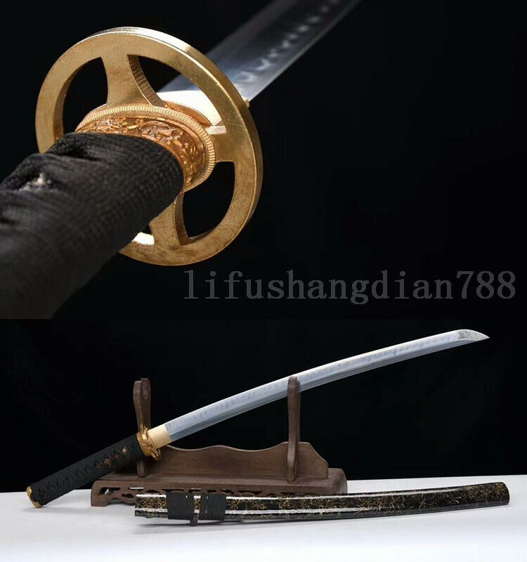 1095 arcilla de acero al carbono templado tsuba de cobre espada de samurái japonesa KATANA