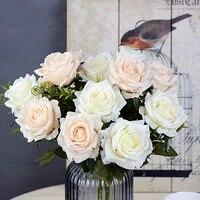 Roses artificielles en soie  6 tetes  fausses grandes fleurs rouges pour decoration de mariage  de haute qualite  pour lhiver  pour la maison  automne