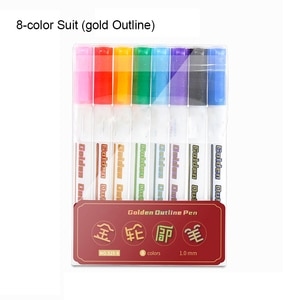 Metallic Marker Set with Case 8 Color Out Line Paint Permanent Marker Pen for Gift Markers Card Rock Painting DIY Photo Album