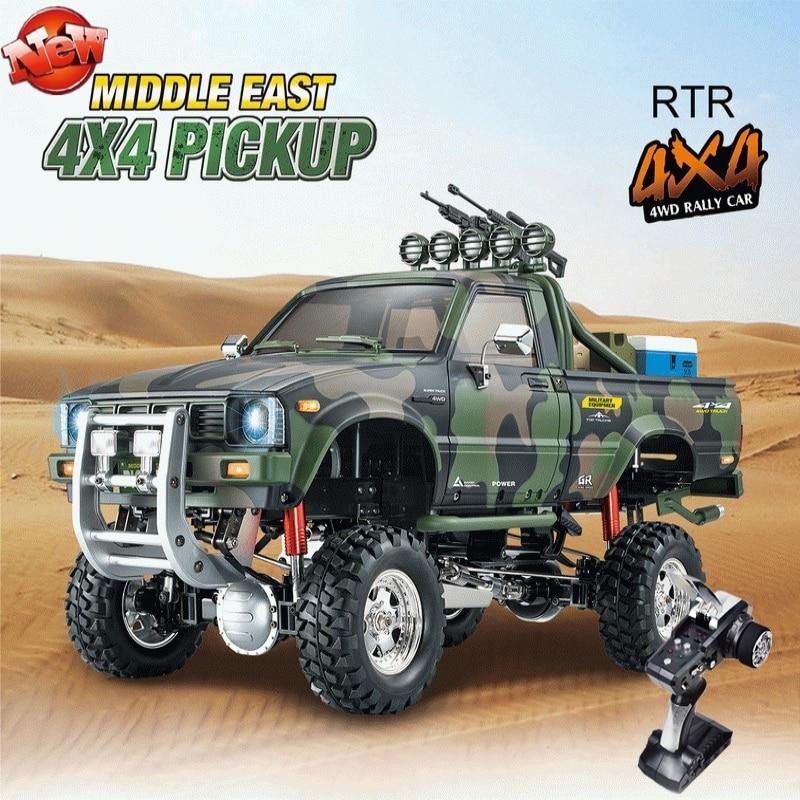 Multi-terrain télécommande pick-up 2.4G 4WD 3 vitesses boîte de vitesses amortissement amortisseur 30km/h équipement militaire simulé camion RC