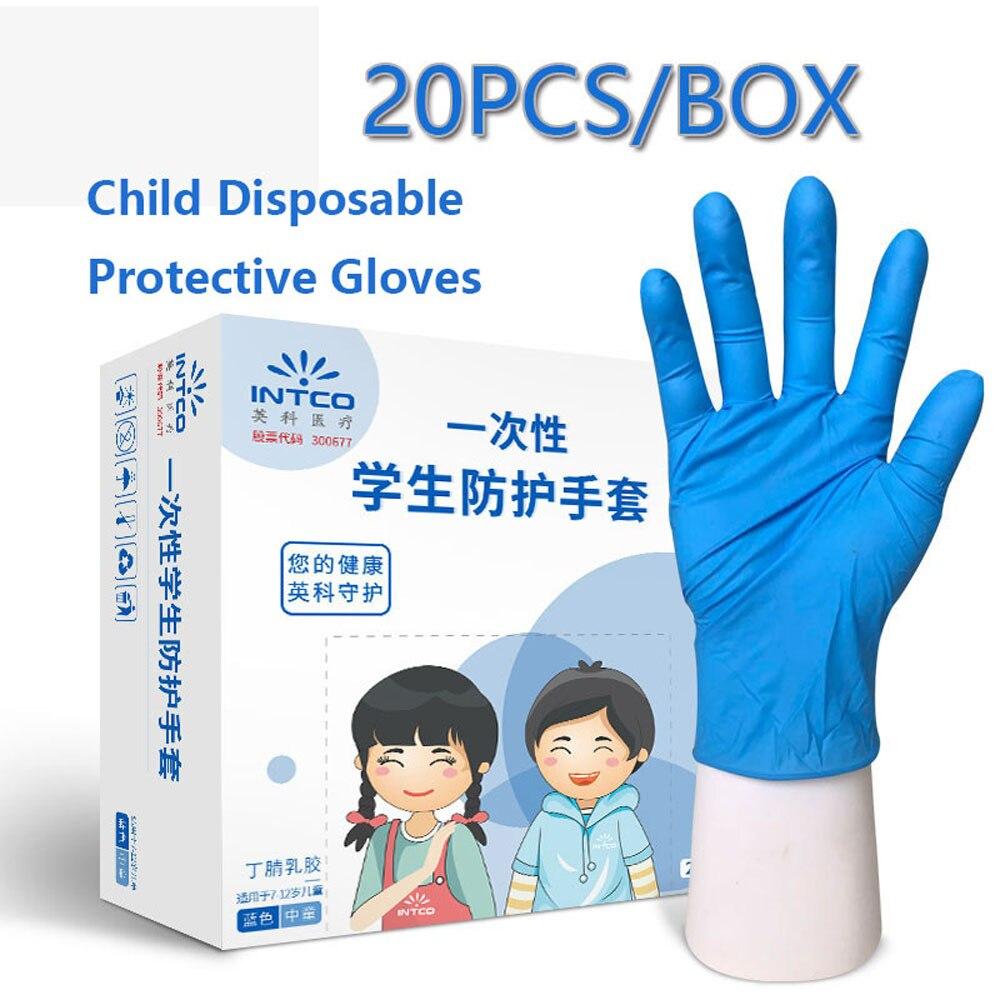 Guantes de látex desechables para niños, 20 unidades por caja, tamaño pequeño, gruesos, de grado alimenticio, resistentes al agua, antideslizantes