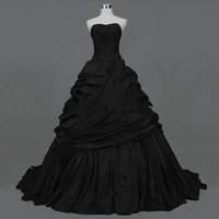 vintage gothic victorian black wedding dresses sweetheart corset back pick ups ruffles wedding taffeta non white bridal gowns