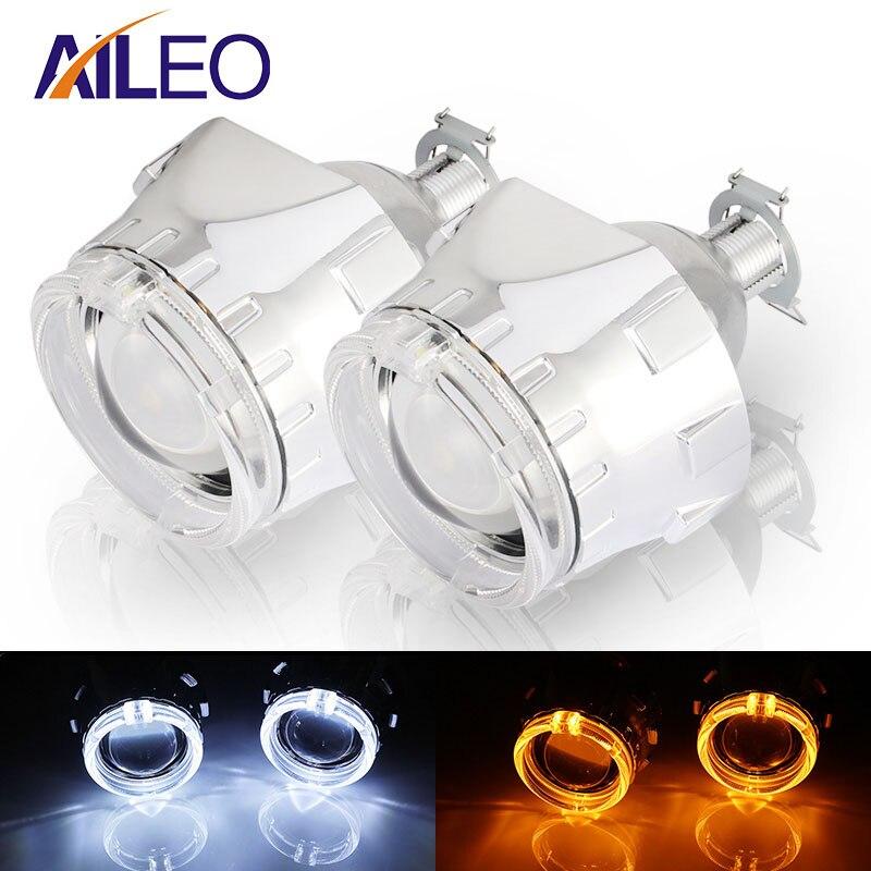 AILEO 2,5 pulgadas lente de proyector bi xenon H4 H7 9005 9006 HB3 HB4 DRL LED Ojos de Ángel LHD RHD kit de Xenón hid faro coche para Hella5