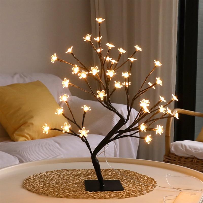 Luz LED para árbol de flores, luz para bonsái de escritorio de 20 pulgadas, lámpara de mesa para árbol de bonsái con alimentación USB, ramas negras para fiesta, boda y Festival