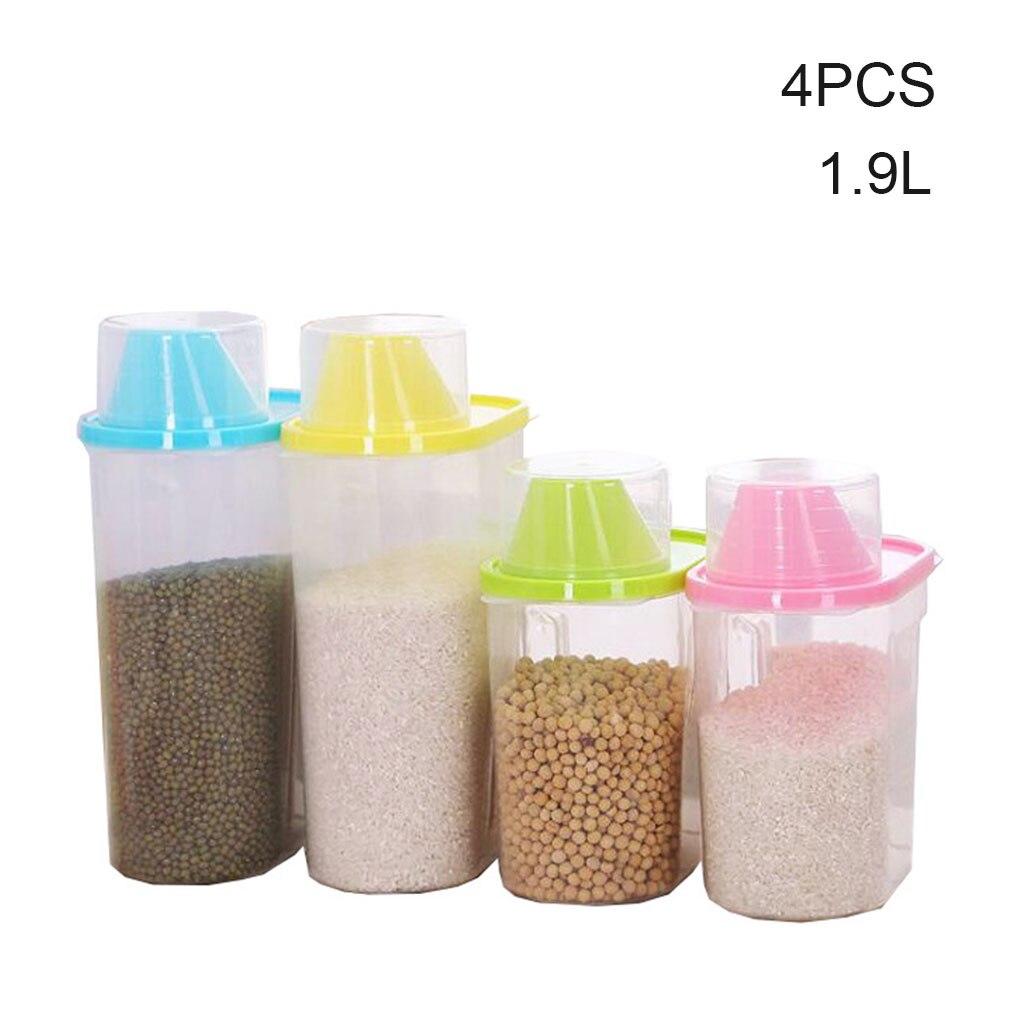 4 pçs caixa de armazenamento de cereais organizador de alimentos secos grãos de plástico alimentos secos leakproof recipiente de armazenamento de alimentos 1.9l