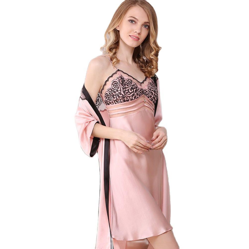 Genuine Silk Robes+ Nightgowns Female Sexy 100% Silk Sleepwear Women Elegant Sling Sleeping Dress Bathrobe Two-Piece S5505