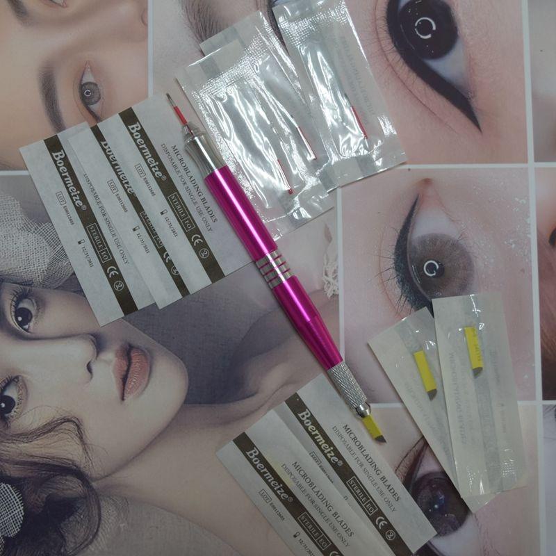 1Pcs Manual Tattoo Pen Tattoo Pen Eyebrow  Microblading Permanent Makeup Eyebrow Tools 2 Usage With 50Pcs 21CF/5RL
