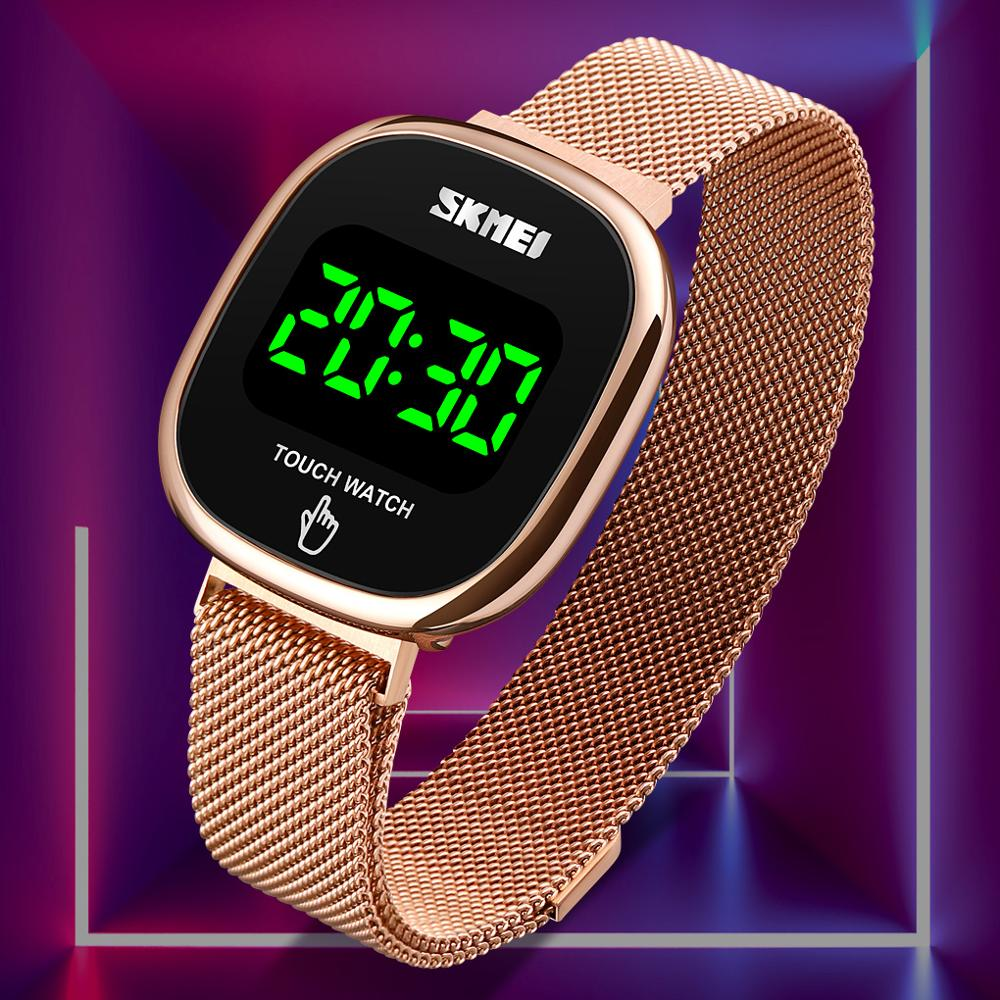 New Simple LED Watches Women Watches Fashion Touch Screen Brand Stainless Steel Mesh Digital Men Wristwatches SKMEI Montre Homme