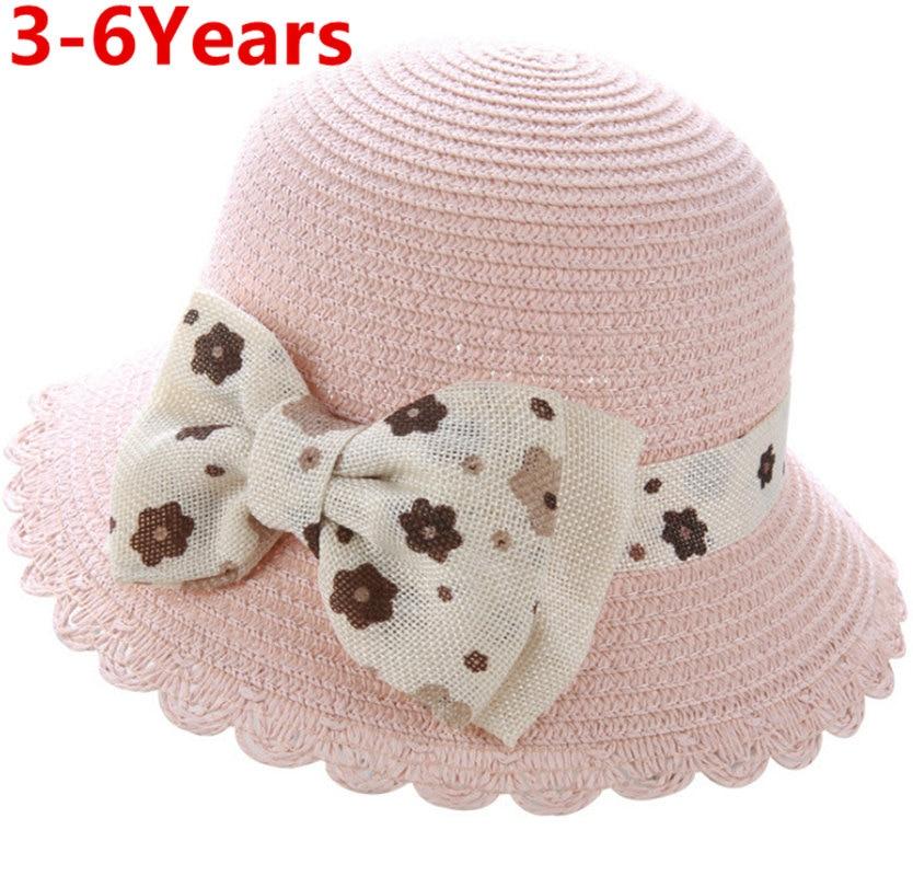 3-6Years Sun Hat Baby Girls Children Kids Summer Flower Sun Casquette Straw Hat Beach Cap Kids Sombrero Mujer Hat For Girls girls flower decorated straw hat