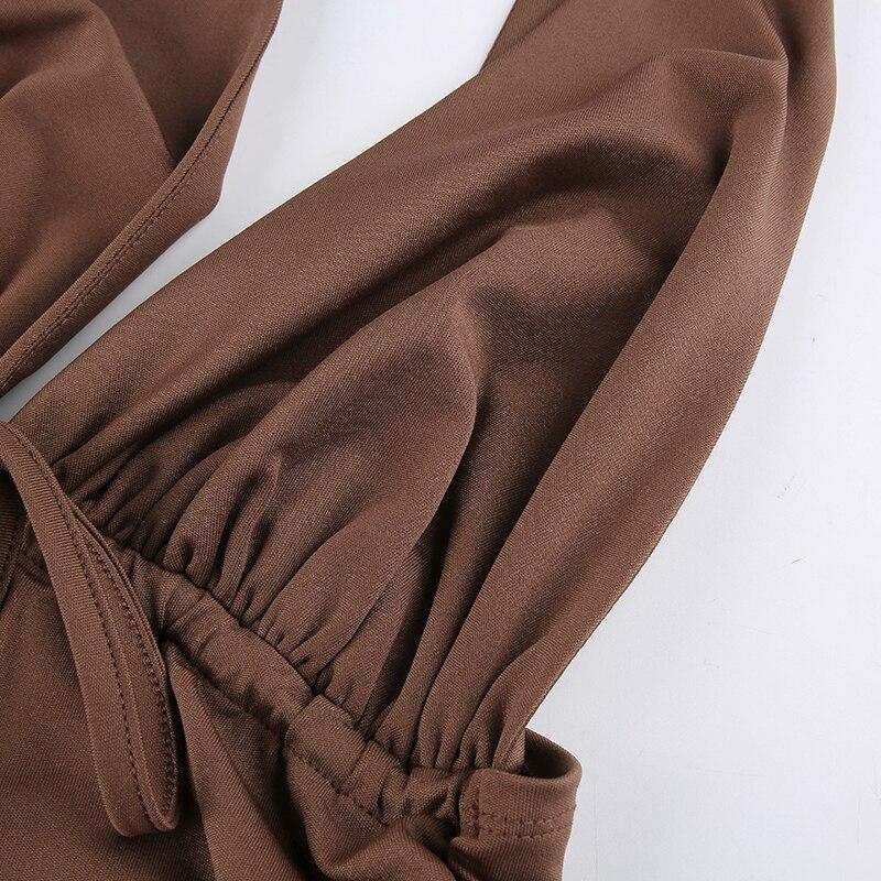 Brown Camis Ruched Tie Up Crop Top Y2K Harajuku Tank Top Backless Halter Cute - tops-tees