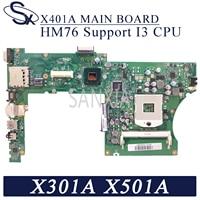 KEFU X401A Laptop motherboard for ASUS X301A X401A X501A original mainboard HM76 Support I3 CPU
