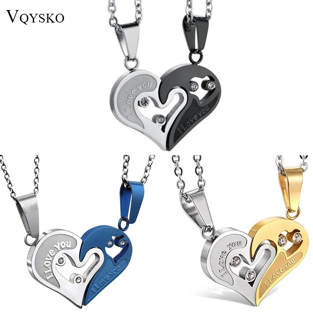 Deux couleurs en acier inoxydable hommes femmes Couple collier pendentif amour coeur CZ Puzzle correspondant