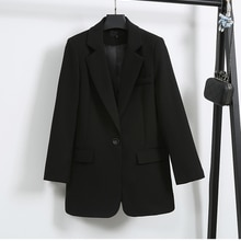 Single Button Black suit Lady Fashion Blazers 2021 autumn spring Slim Korean style loose Mid-Length