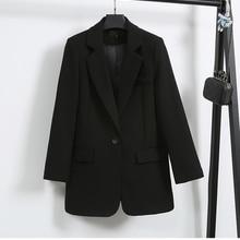 Single Button Black suit Lady Fashion Blazers 2021 autumn spring Slim Korean style loose Mid-Length