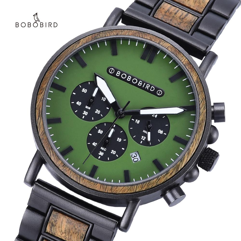 BOBO BIRD ساعة خشبية الرجال ساعة توقيت كرونوغراف فاخر أنيق عرض تاريخ الخشب الكوارتز ساعة اليد الذكور في علبة هدية OEM