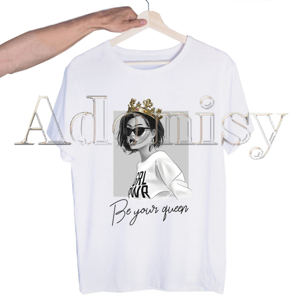 Футболка с принтом Girl Power, Мужская Уличная одежда в стиле хип-хоп, футболки в стиле Харадзюку, модная повседневная футболка с коротким рукаво...